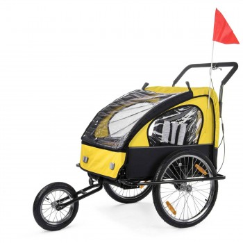 SAMAX Children Bike Trailer 2in1 Jogger Stroller with Suspension - in Yellow/Black - Black Frame – Bild 1