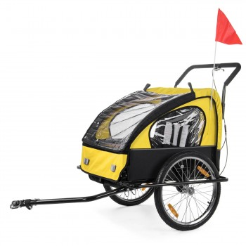 SAMAX Children Bike Trailer 2in1 Jogger Stroller with Suspension - in Yellow/Black - Black Frame – Bild 2