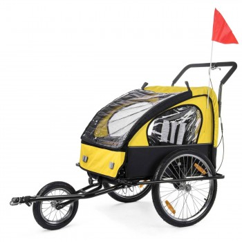 SAMAX Children Bike Trailer 2in1 Jogger Stroller with Suspension - in Yellow/Black - Black Frame – Bild 3