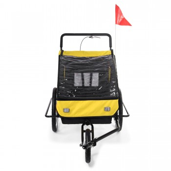 SAMAX Children Bike Trailer 2in1 Jogger Stroller with Suspension - in Yellow/Black - Black Frame – Bild 7