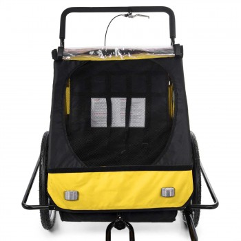 SAMAX Children Bike Trailer 2in1 Jogger Stroller with Suspension - in Yellow/Black - Black Frame – Bild 8