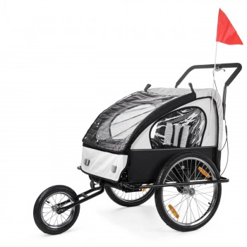 SAMAX Children Bike Trailer 2in1 Jogger Stroller with Suspension - in White/Black - Black Frame – Bild 1