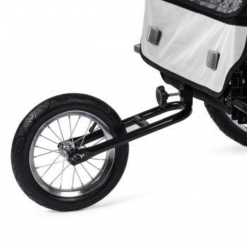 SAMAX Children Bike Trailer 2in1 Jogger Stroller with Suspension - in White/Black - Black Frame – Bild 12