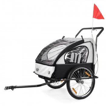 SAMAX Children Bike Trailer 2in1 Jogger Stroller with Suspension - in White/Black - Black Frame – Bild 2