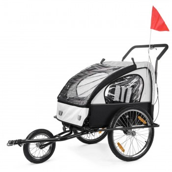 SAMAX Children Bike Trailer 2in1 Jogger Stroller with Suspension - in White/Black - Black Frame – Bild 3