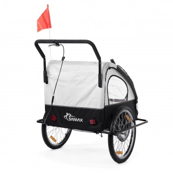 SAMAX Children Bike Trailer 2in1 Jogger Stroller with Suspension - in White/Black - Black Frame – Bild 6