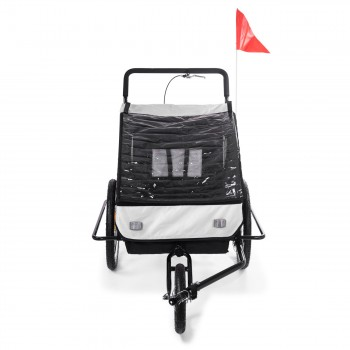 SAMAX Children Bike Trailer 2in1 Jogger Stroller with Suspension - in White/Black - Black Frame – Bild 7