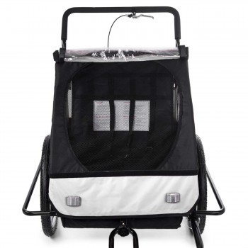 SAMAX Children Bike Trailer 2in1 Jogger Stroller with Suspension - in White/Black - Black Frame – Bild 8