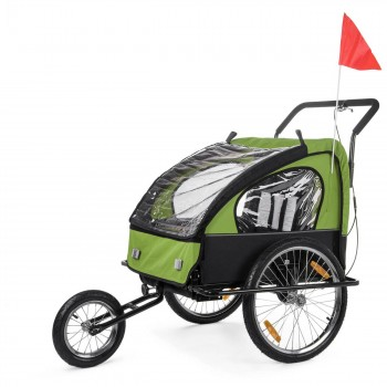 SAMAX Children Bike Trailer 2in1 Jogger Stroller with Suspension - in Green/Black - Black Frame – Bild 1