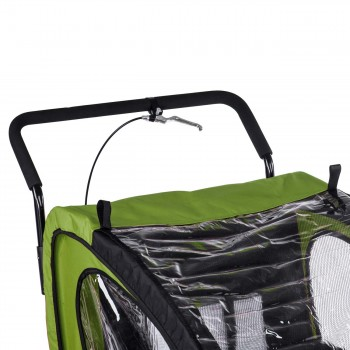 SAMAX Children Bike Trailer 2in1 Jogger Stroller with Suspension - in Green/Black - Black Frame – Bild 10