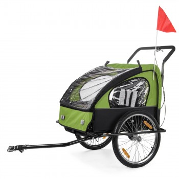 SAMAX Children Bike Trailer 2in1 Jogger Stroller with Suspension - in Green/Black - Black Frame – Bild 2