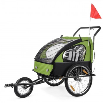 SAMAX Children Bike Trailer 2in1 Jogger Stroller with Suspension - in Green/Black - Black Frame – Bild 3