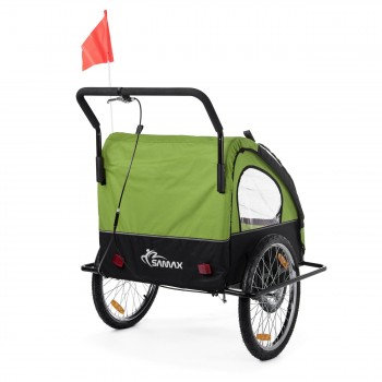 SAMAX Children Bike Trailer 2in1 Jogger Stroller with Suspension - in Green/Black - Black Frame – Bild 6