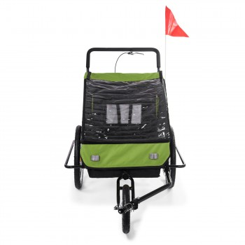 SAMAX Children Bike Trailer 2in1 Jogger Stroller with Suspension - in Green/Black - Black Frame – Bild 7