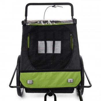 SAMAX Children Bike Trailer 2in1 Jogger Stroller with Suspension - in Green/Black - Black Frame – Bild 8