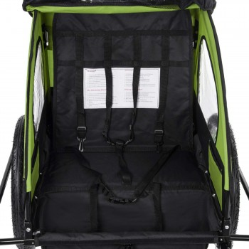 SAMAX Children Bike Trailer 2in1 Jogger Stroller with Suspension - in Green/Black - Black Frame – Bild 9