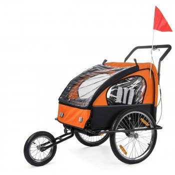 SAMAX Children Bike Trailer 2in1 Jogger Stroller with Suspension - in Orange/Black - Black Frame – Bild 1