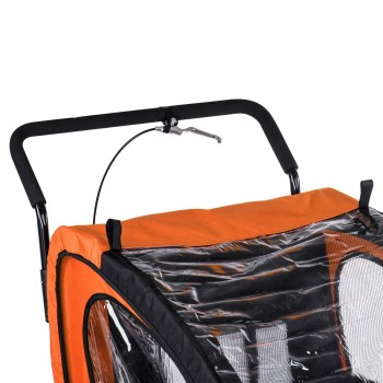 SAMAX Children Bike Trailer 2in1 Jogger Stroller with Suspension - in Orange/Black - Black Frame – Bild 10