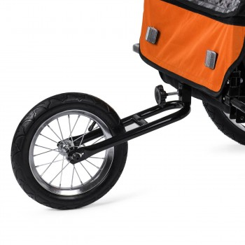 SAMAX Children Bike Trailer 2in1 Jogger Stroller with Suspension - in Orange/Black - Black Frame – Bild 12
