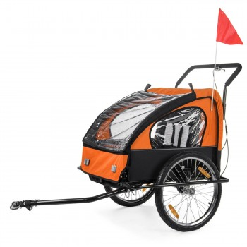 SAMAX Children Bike Trailer 2in1 Jogger Stroller with Suspension - in Orange/Black - Black Frame – Bild 2