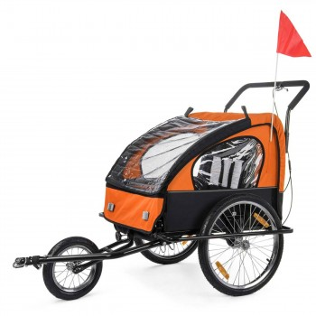SAMAX Children Bike Trailer 2in1 Jogger Stroller with Suspension - in Orange/Black - Black Frame – Bild 3