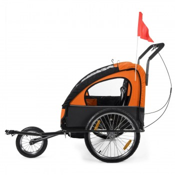 SAMAX Children Bike Trailer 2in1 Jogger Stroller with Suspension - in Orange/Black - Black Frame – Bild 4