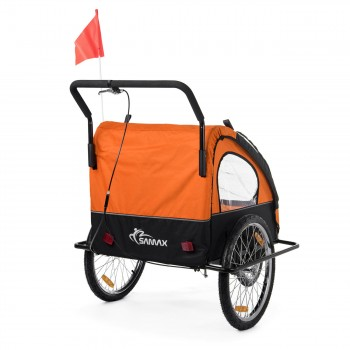 SAMAX Children Bike Trailer 2in1 Jogger Stroller with Suspension - in Orange/Black - Black Frame – Bild 6