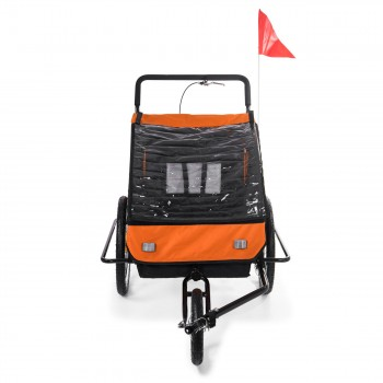 SAMAX Children Bike Trailer 2in1 Jogger Stroller with Suspension - in Orange/Black - Black Frame – Bild 7