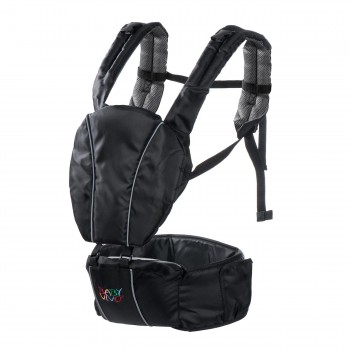 BABY VIVO Baby Carrier with built-in Seating - in Black/Grey – Bild 3