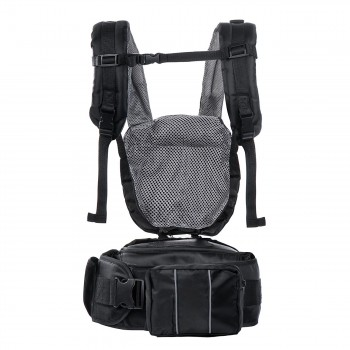 BABY VIVO Baby Carrier with built-in Seating - in Black/Grey – Bild 5