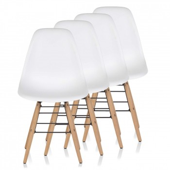 Makika Design Retro Dining Chair Set of 4 - BEEZ in White – Bild 1