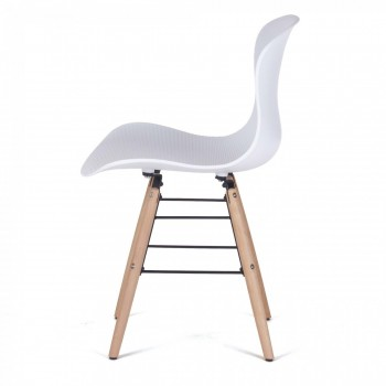 MY SIT Design Retro Dining Chair Set of 4 - NEYA in White – Bild 4