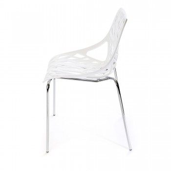 Makika Design Retro Dining Chair Set of 4 - CALUNA in White – Bild 4