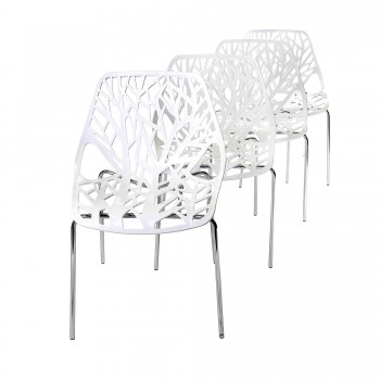 Makika Design Retro Dining Chair Set of 4 - CALUNA in White – Bild 1