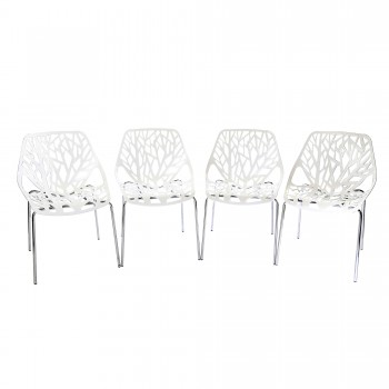 Makika Design Retro Dining Chair Set of 4 - CALUNA in White – Bild 2