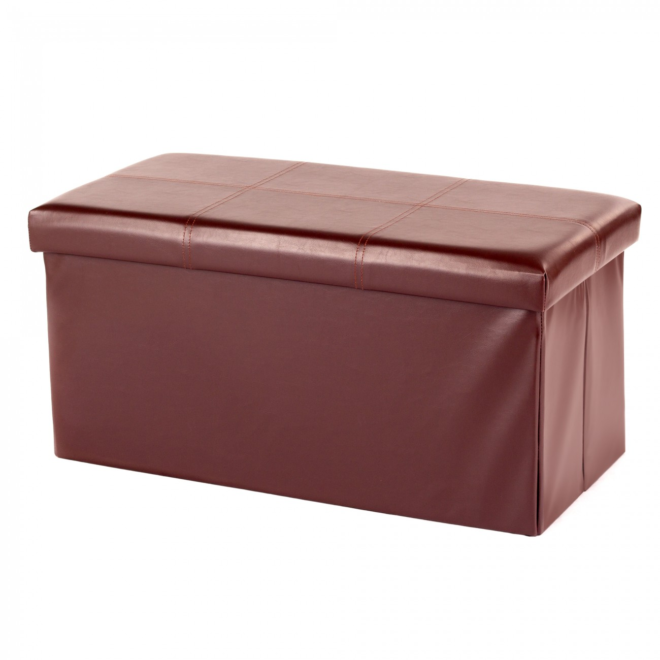MY SIT Foldable Ottoman Storage Box Synthetic Leather 80 x 40 x 40 cm brown - MY SIT Foldable Ottoman Storage Box Synthetic Leather 80 X 40 X 40