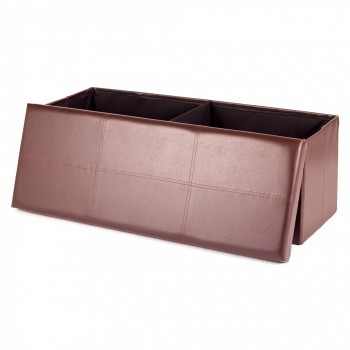 MY SIT Foldable Ottoman Storage Box Synthetic Leather 110 x 40 x 40 cm brown – Bild 2