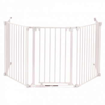 BABY VIVO Comfortable Barrier Metal 4+1 - Fire guard / heater guard white – Bild 1