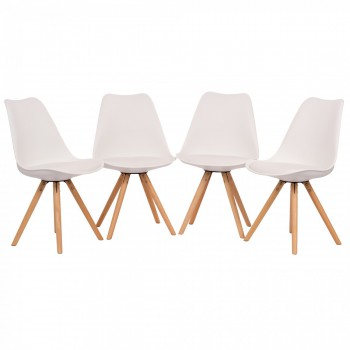 Makika Design Retro Dining Chair Set of 4 - MOOL in White – Bild 2