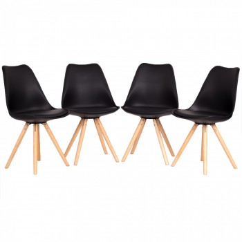 MY SIT Design Retro Dining Chair Set of 4 - MOOL in Black – Bild 2