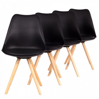 MY SIT Design Retro Dining Chair Set of 4 - MOOL in Black – Bild 1