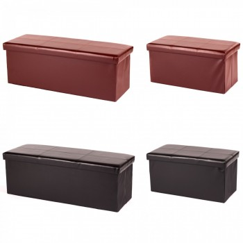 MY SIT Foldable Storage Box Ottoman Stool Synthetic Leather – Bild 1