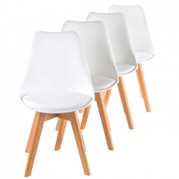 MY SIT Design Retro Dining Chair Set of 4 - ZURA in White – Bild 1
