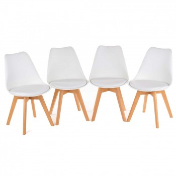 MY SIT Design Retro Dining Chair Set of 4 - ZURA in White – Bild 2