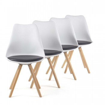 MY SIT Design Retro Dining Chair Set of 4 - MOOL in Black/White – Bild 2