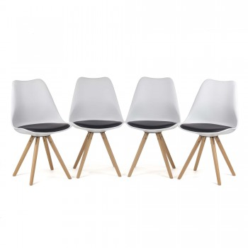 MY SIT Design Retro Dining Chair Set of 4 - MOOL in Black/White – Bild 3