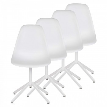 MY SIT Design Retro Dining Chair Set of 4 - BEEZ GO in White – Bild 1