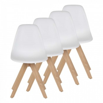 MY SIT Design Retro Dining Chair Set of 4 - BEEZ UP in White – Bild 1