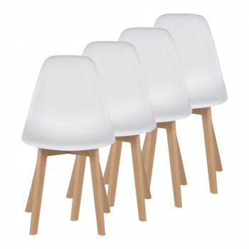 MY SIT Design Retro Dining Chair Set of 4 - BEEZ ME in White – Bild 1