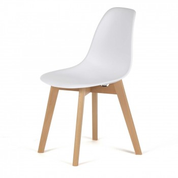 MY SIT Design Retro Dining Chair Set of 4 - BEEZ ME in White – Bild 3